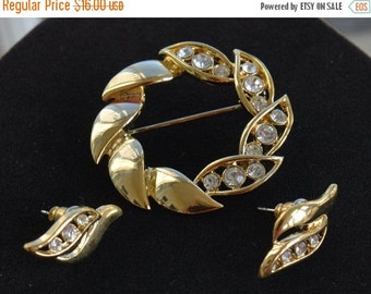On sale Pretty Vintage Gold tone, Rhinestone Brooch, Pierced Earring Set, Demi Parure