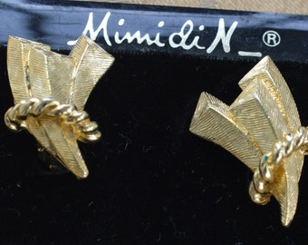 """Pretty Vintage Brushed Gold tone Abstract Clip Earrings, """"Mimi di N"""" (AK8)"""