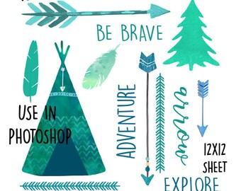 Woodland PNG Textures / Tribal Digital Elements/ Set of 2 Instant Download Woodland textures / DIY Art Print / Teal Green Blue / Teepee