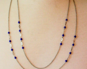 Vintage Necklace Blue beaded Silver Tone long Layering necklace