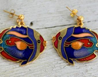 FISH Earrings Enameled Dangle Pierced