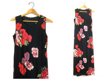90s Roses Print Dress Black Long rayon Maxi Dress Sleeveless Sun Dress Slip Floral 1990s Women's Size 6 Small Medium