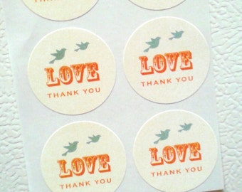 Lovebirds Freedom Stickers (Non-Customized) 1.5 inch - Set of 30 Labels - Thank You Stickers, Wedding Labels, Love with Birds Stickers