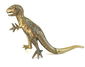 Vintage Brass Dinosaur figurine~ Hollywood Regency T-Rex~ Playful Nursery decor~King of the Dinosaurs