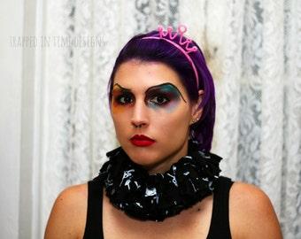Skull Ruff, Halloween Costume, Tattered Collar, Tattered Ruff, Black and White Neck Piece, Ruffle Collar