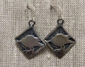 Baby Crow Sterling Silver Earrings