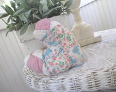 Vintage Lavender Heart Sachet * Upcycled Quilt * Pink Chenille Bedspread * Handmade * Shabby Cottage