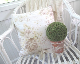 Vintage Pillow * Pottery Barn *  Shabby French Cottage * Roses * Rose Bouquet