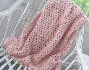 Vintage Afghan * Pink * Handmade * Shabby Cottage * Throw