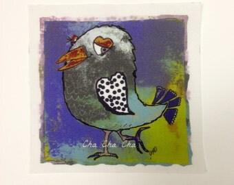 Dancing bird...Cha Cha Cha fabric