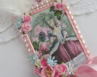 Marie Antoinette Gift Tag,  French Gift Tag, Mixed Media Art Tag,  Lace Tag, Wedding Gift Tag