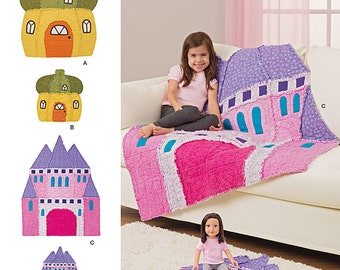 RAG QUILT PATTERN / Girl And Doll Matching Castle or Acorn House Throws