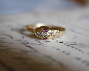 ANTIQUE SNAKE Edwardian era 14k gold ruby white sapphire vintage Ouroboros ring size 6 circa 1910