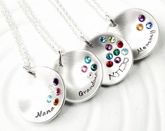 Birthstone Mother's Necklace - Personalized Jewelry - Grandmother's Necklace - Hand Stamped Necklace - Gift for Grandma - Gift for Mom