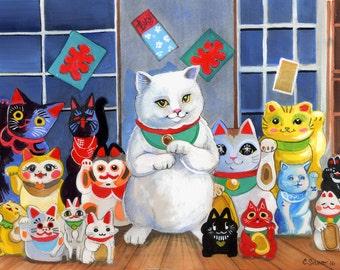 Lucky Cats Maneki Neko Good Luck! Kawaii friends Art Print 8.5x11