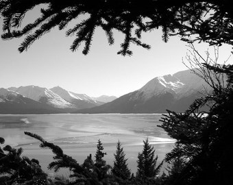 Mountain Valley Lake Frame Alaska-8x10-B&W Fine Art Photo-Certificate of Authenticity-Signed by Artist
