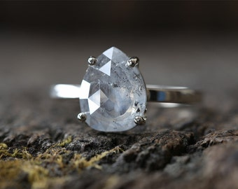 Custom Natural Rose-Cut Silver-White Diamond Engagement Ring