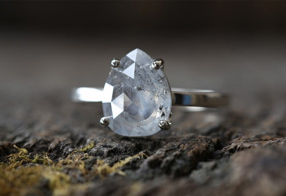 Custom Natural Rose-Cut Silver-White Diamond Engagement Ring