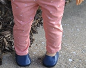 18 inch Doll Clothes - Peach Polka Dot Trouser Pants - PEACH WHITE - fit American Girl