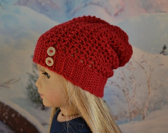 Doll Clothes - Boy or Girl Doll - Doll Beanie for 18 inch - Crocheted Slouch Beanie - Crimson Red - MADE TO ORDER - fits American Girl