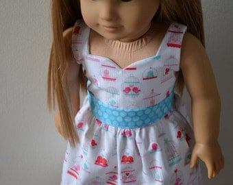 18 inch Doll Clothes - Love Birds Sweetheart Dress - AQUA WHITE PINK - Tweet Hearts - Bird Cage - Valentine's Day - - fits American Girl