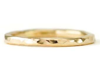 14k Gold Wedding Ring -  2mm Hammered Gold Stacking Ring - Solid 14k Gold Band