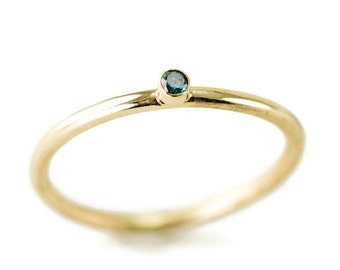 Blue Diamond Stack Ring in 14k Gold - Blue Diamond 18k and Sterling Ring -