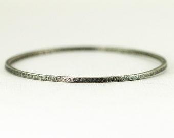 Sterling Bangle - Sterling Stacking Bangle 2mm Wide - 4 Sided Pattern Bracelet