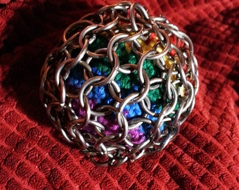 Chainmail Chainmaille Hackey Sack Stress Ball Stainless Steel Rainbow