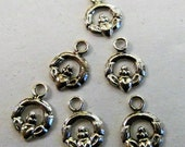 Claddagh Pendant Beads 925 Sterling Silver 8mm Small Charms Irish Celtic Style Jewelry Design 6 Pieces *Free* Shipping