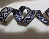White Blue Black Boho Tribal Jacquard Ribbon Trim Geometric Trim Woven Sewing Trim 5 Yards