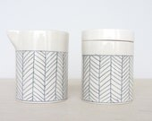 Porcelain Cream and Sugar Set in White Herringbone  - Made to Order