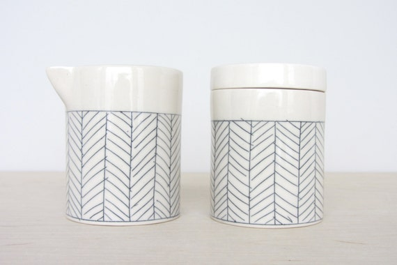 Porcelain Cream and Sugar Set in White Herringbone  - Made to Order