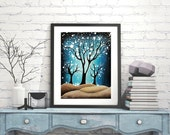 Blue and Brown Tree Print Wall Art for Home, Blue Tree Forest Art Print Nature Wall Decor, Circle Wall Decor
