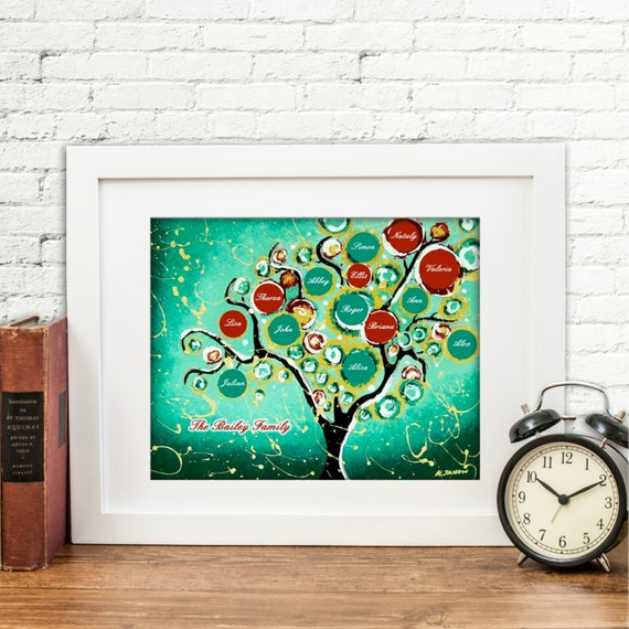 Personalized gift custom family tree of life art by for Family tree gifts personalized