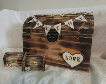 CIJ SALE Rustic Wood Burned Wedding Card and Ring Chest His Hers Ring Boxes Wedding Set Hearts