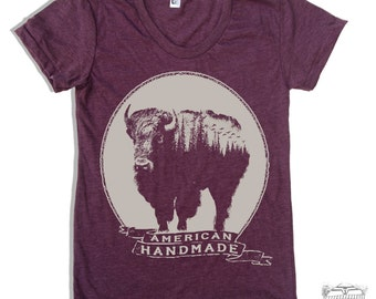 Womens BISON t-shirt american apparel S M L XL (16 Colors Available)