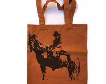 COWBOY - Eco-Friendly Market Tote Bag - Hand Screen printed (Ships FREE!) Zen Threads