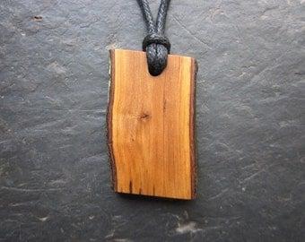 """Natural Wood Pendant - Hawthorn - Unique """"Live Edge"""" Design."""