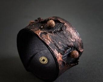 40% OFF Leather and jasper rustic bracelet cuff Statement jewelry Wide wristband