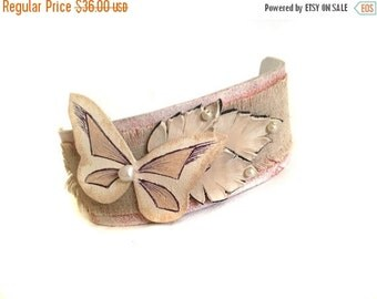 50% OFF SALE Shabby chic leather bracelet Monochrome vintage style Linen Cuff Bracelet  Women's bracelet Leather jewelry