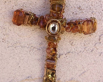 Beaded wall cross - Christian wall art - Christmas gift - wire wrapped cross - Christmas ornament - gold cross - wedding gift - beaded cross