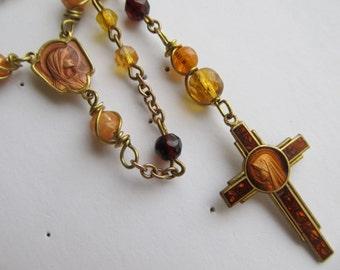 Danusharose  Vintage Brass Amber Yellow Orange Glass Beads Garnet Glass Orange  Cantalope Mary Enamel Floral Cross  OOAK Rosary or Necklace