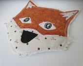 Applique Fox Embellishment, Fox Applique, Scrapbook Embellishment, Fabric Fox, Fabric Fox Patch, Free Motion Applique, Applique for Kids