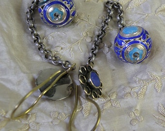 chinese enamel beads with antique chain..earrings