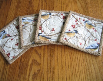 Quilted Coasters with Chickadees - Set of 4