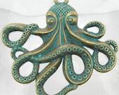 68x46mm Brass Patina Base Metal Octopus Pendant - Qty 1 (G393)