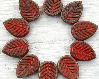 17x12mm Opaque Red Picasso Czech Glass Leaf Beads - Qty 10 (BW376)