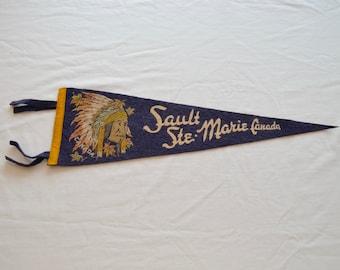 Vintage Sault Ste Marie CANADA felt pennant souvenir Native indian theme