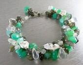 BIGGEST SALE EVER Chrysoprase Bracelet with Labradorite, Moonstone and Pearl Bracelet - Daydreaming